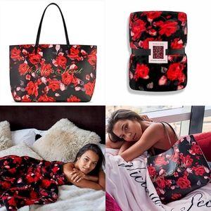 ❤Victoria's Secret Floral Tote Bag & Plush Throw❤